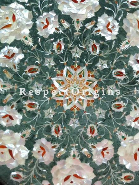 Buy ornate Marble inlay Table Tops or Pietra Dura Circular Green Octagonal Marble Table Top with Mother of Pearls and Jasper Semi Precious Stone; 17x17 in At RespectOrigins.com