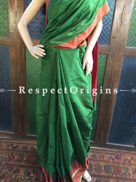 Green maroon; Cotton Silk; Handloom Saree, RespectOrigins.com