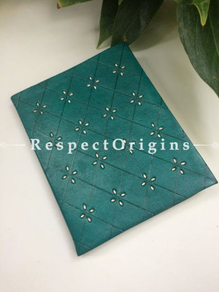 Buy Green Rajasthani Hand Punched Floral Leather Diary At RespectOrigins.com