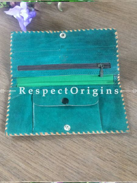 Buy Green Rajasthani Leather Womens Punched Wallet; RespectOrigins.com