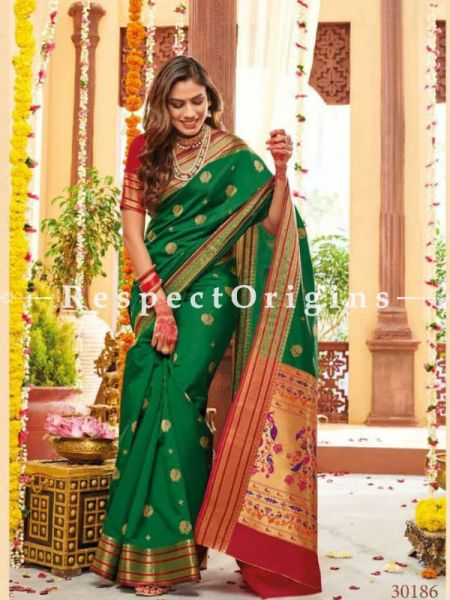 Green Paithani Handloom Silk Saree with Zari Border; RespectOrigins.com