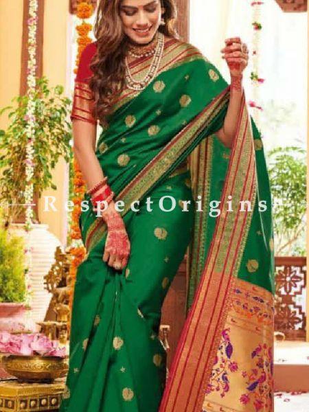 Green Paithani Handloom Silk Saree with Zari Border; RespectOrigins.com