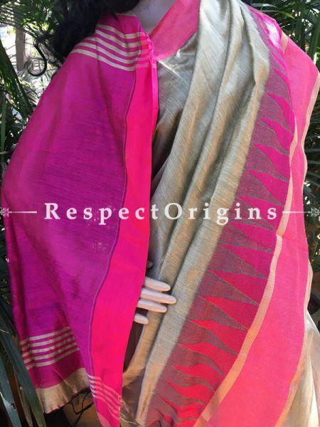 Grey; Cotton Silk Saree; Handloom, RespectOrigins.com
