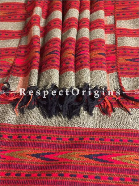 Buy Grey Hand woven Woolen Kullu Stoles From Himachal with multiple pink borders; Size 80 x 27 inches at RespectOrigins.com
