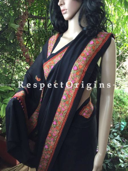 Buy Black Georgette kashmiri Saree; Aariwork Border at RespectOrigins.com