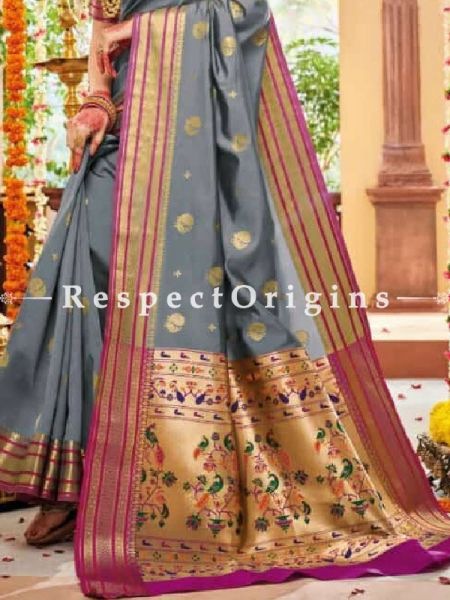 Grey Paithani Handloom Silk Saree with Zari Border; RespectOrigins.com