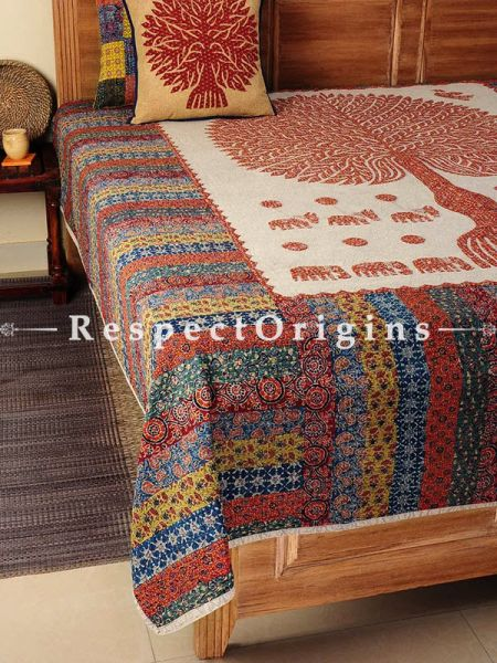 Buy Multicolored Applique Work Ethnic Double Bed cover; Cotton, 90x108 in At RespectOrigins.com