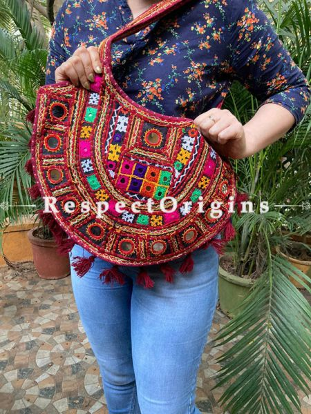 Red Vintage style embroidered handbag  with Gujarati mirror work kutch embroidered shoulder bag - Ladies boho style handbag Strap 27 Inches; RespectOrigins.com