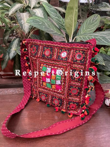 Red Vintage style embroidered handbag  with Gujarati mirror work kutch embroidered shoulder bag Ladies boho style handbag Strap 36 Inches; RespectOrigins.com