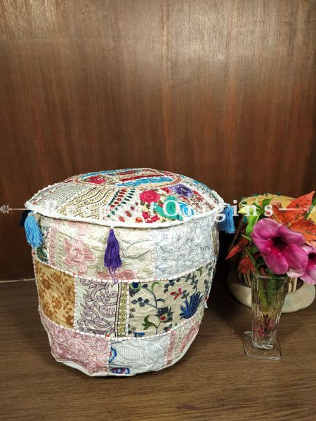 Soft Hued Patchwork Poof Ottoman Cover; Cotton; 14 x 18 Inches; RespectOrigins.com