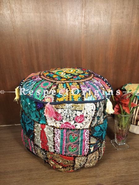 Black-edged Colourful Patchwork Ottoman Poof Cover; Cotton; 14 x 18 Inches; RespectOrigins.com