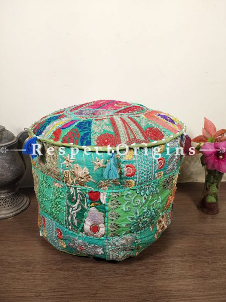 Green Patchwork Ottoman Poof Cover; Cotton; 14 x 18 Inches; RespectOrigins.com