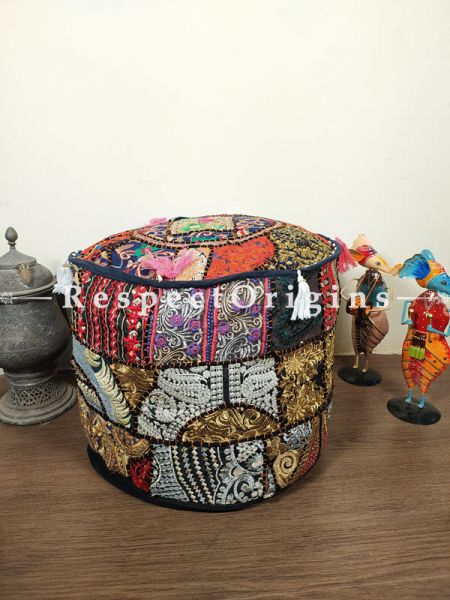 Boho Multi-coloured Patchwork Ottoman Cover; Cotton; 14 x 18 Inches; RespectOrigins.com