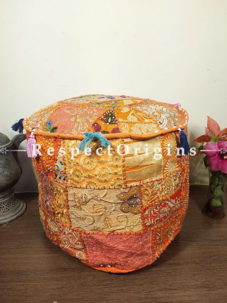 Orange Round Shape Gujarati Patchwork Ottoman Poof Cover; Cotton; 14 x 18 Inches; RespectOrigins.com