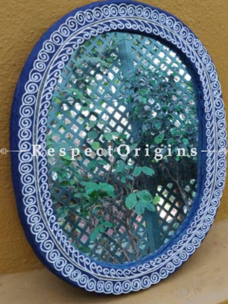 Buy Mirror; Traditional Aipan Motifs; Hand Painted; Oval At RespectOrigins.com