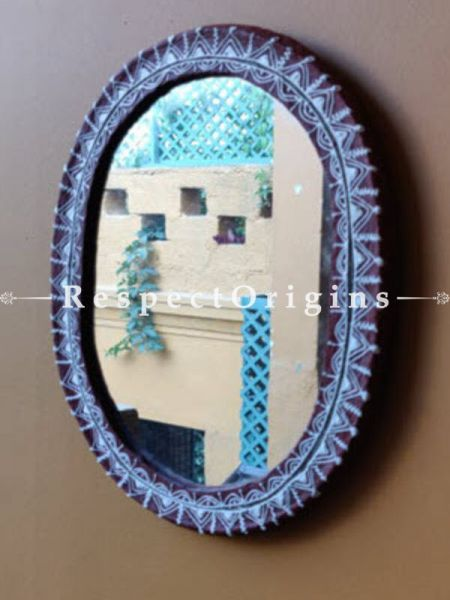 Buy Mirror; Hand Painted Aipan Motifs; Papier Mache; Oval At RespectOrigins.com