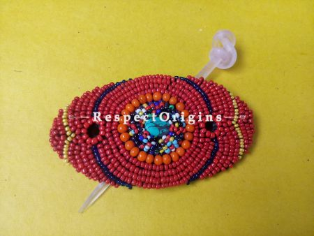 Buy Red & Orange Coral Beads Ladakhi Hair Clips at RespectOrigins.com
