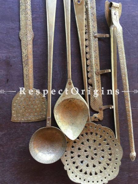Buy Decorative Ladles; Hammered Brass Kitchen-Ware Five Piece Set With Hanger At RespectOrigins.com
