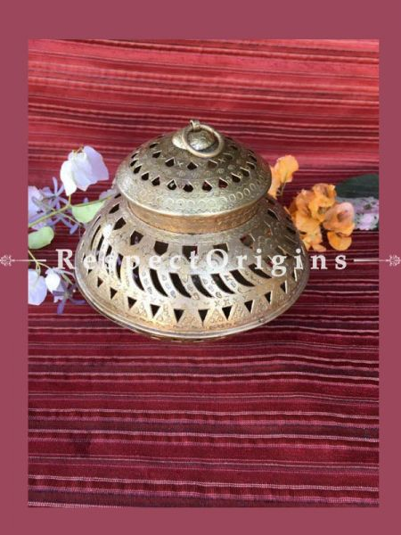 Buy Round Brass Navratri Garba Lamp; Hammered Brass Candle Holder or Akhand Diya At RespectOrigins.com