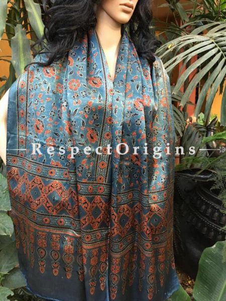 Buy Light Sky Blue Gujarati Ajrakh Block Printed Mashru Silk Stole; RespectOrigins.com