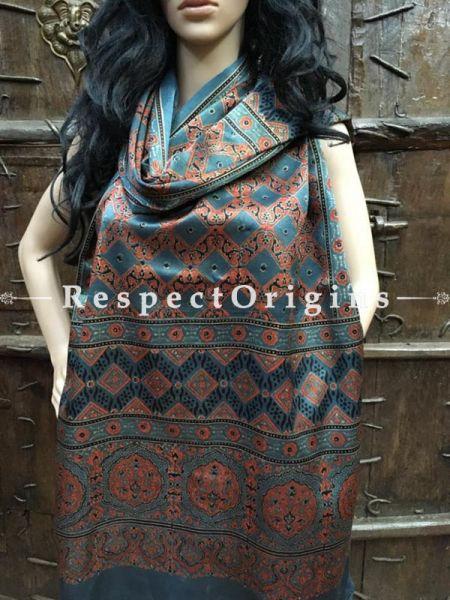 Buy Light Blue Gujarati Ajrakh Block Printed Mashru Silk Stole Online; RespectOrigins.com