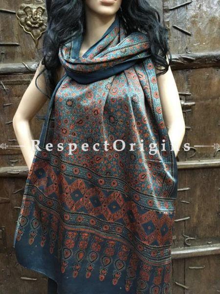 Buy Steel Blue Gujarati Ajrakh Block Printed Mashru Silk Stole Online, RespectOrigins