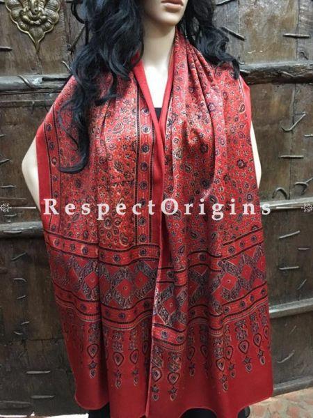 Dark Red Gujarati Ajrakh Block Printed Mashru Silk Stole-RespectOrigins.com