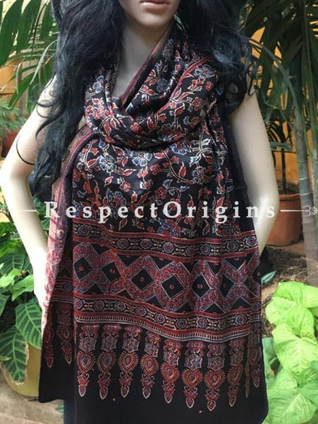 Buy Dark Brown Gujarati Ajrakh Block Printed Mashru Silk Stole Online; RespectOrigins.com