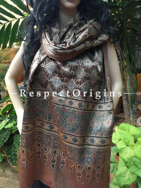 Buy Light Brown Gujarati Ajrakh Block Printed Mashru Silk Stole Online;  RespectOrigins