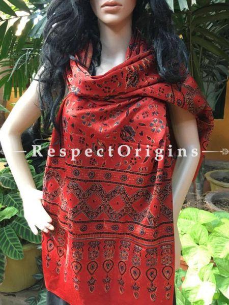 Buy Red Gujarati Ajrakh Block Printed Mashru Silk Stole Online;  RespectOrigins.com