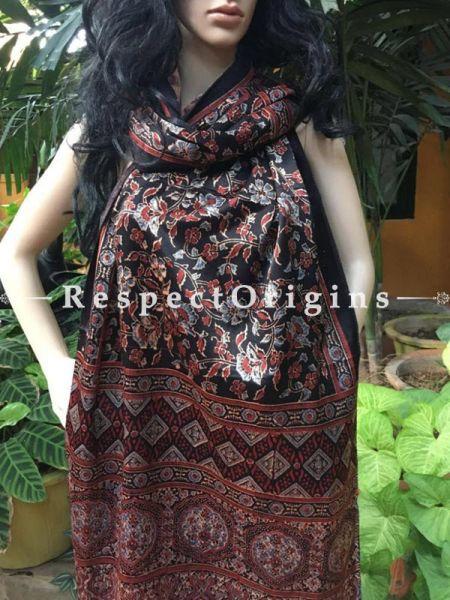 Buy Dark Brown Gujarati Ajrakh Block Printed Mashru Silk stole Online, RespectOrigins.com