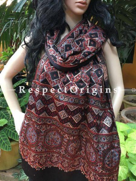 Buy Dark Brown Gujarati Ajrakh Block Printed Mashru Silk Stole Online, RespectOrigins