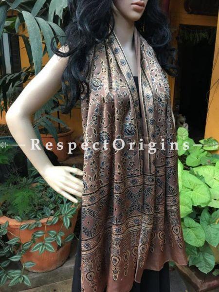 Buy Light Brown Gujarati Ajrakh Block Printed Silk Stole Online, RespectOrigins.com