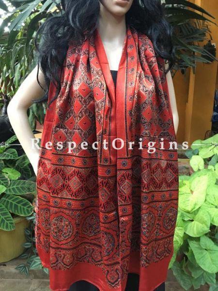 Dark Red Gujarati Ajrakh Block Printed Mashru Silk Stole; RespectOrigins.com