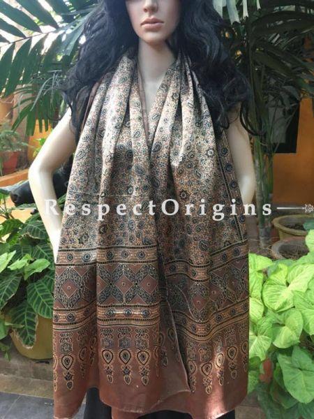 Light Brown Gujarati Ajrakh Block Printed Mashru Silk Stole; RespectOrigins.com