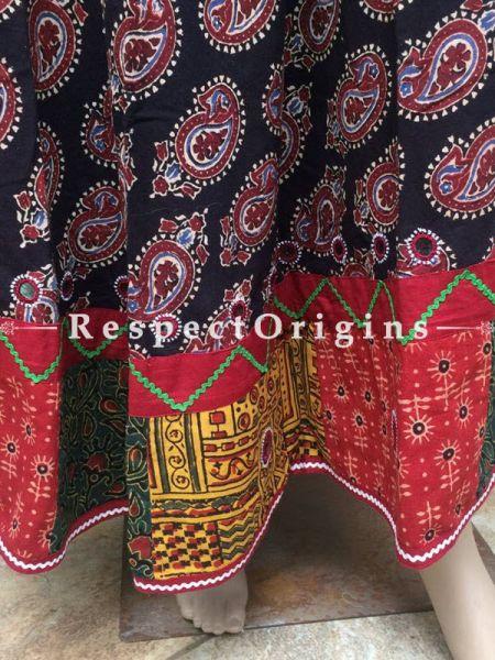 Buy Hand Block Printed Cotton Maxi Long Skirt; Black at RespectOrigins.com