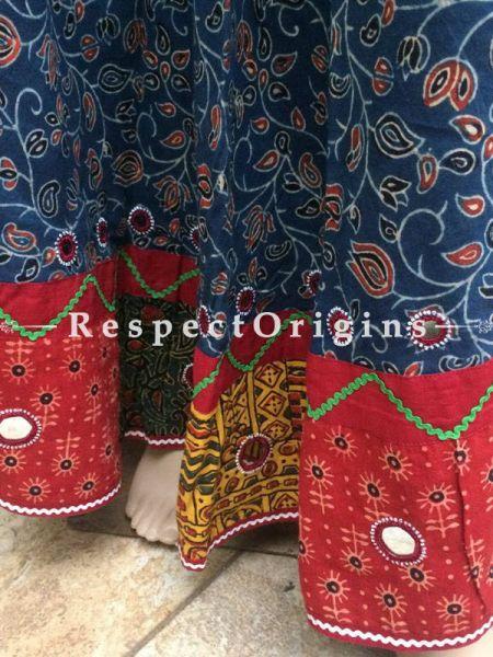 Buy Hand Block Printed Cotton Long Skirt; Blue at RespectOrigins.com