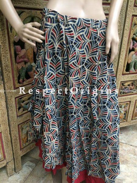 Buy Hand Block Printed Cotton Long Skirt; Grey at RespectOrigins.com