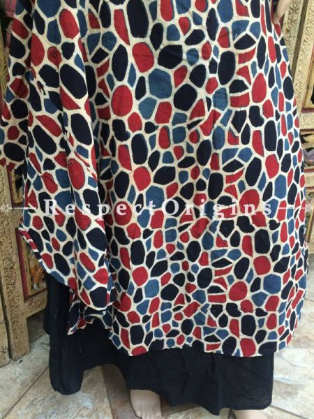 Buy Handcrafted Red and Blue Long cotton Skirt at RespectOrigins.com