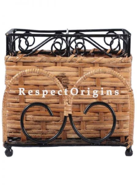 Buy Hand Braided Rattan Cane toothbrush holder Wrought iron accents; RespectOrigins.com