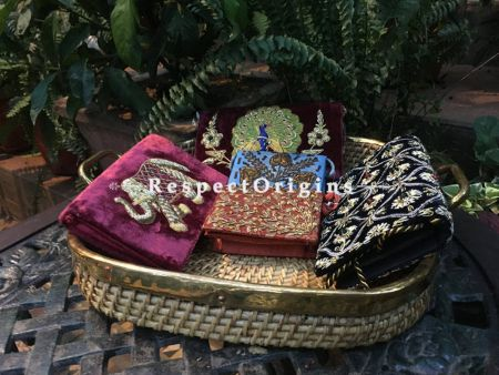 Buy Vintage Hand Braided Cane Tray or Basket with brass edgings and handles.|RespectOrigins