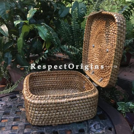 Buy Hand Braided Rectangular Cane Box with Brass Handle; RespectOrigins