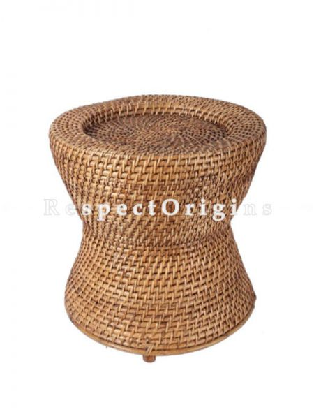 Buy Hand Braided Round Rattan Cane Stool or Moodhain 14x14 inches; RespectOrigins.com
