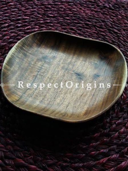 Buy Hand Carved Natural color Wooden Apple Shape Serving Platter At RespectOrigins.com