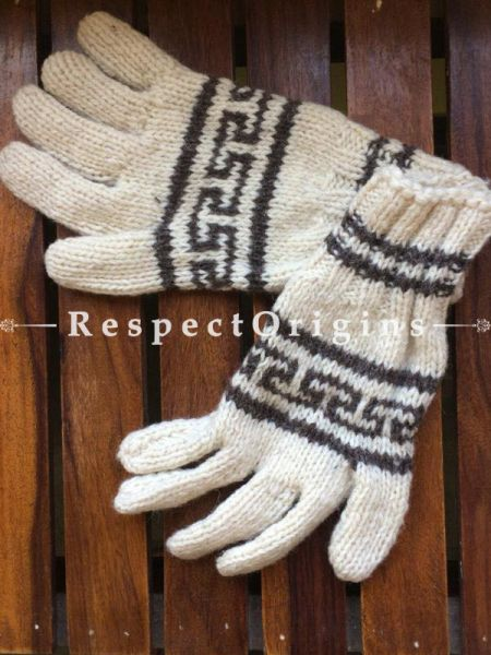 Pure Wool White & Grey Hand Knitted Warm Unisex Gloves; Free Size; RespectOrigins.com