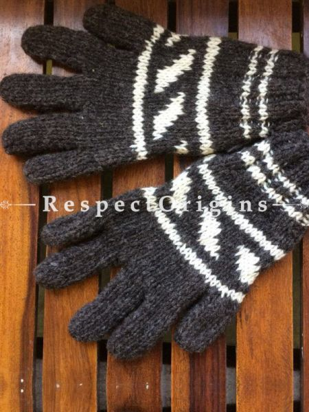 Pure Wool Black and White Hand Knitted Warm Unisex Gloves; RespectOrigins.com
