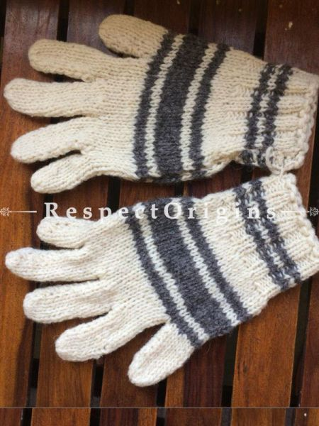 Pure Wool Black White and Grey Hand knitted Warm Unisex Gloves; Free Size; RespectOrigins.com