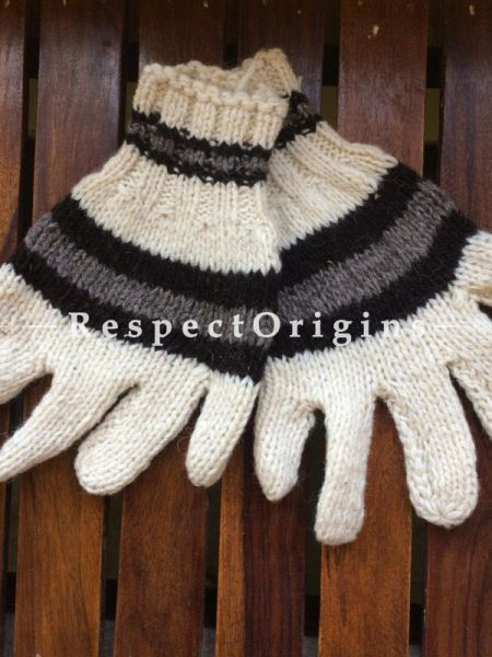 Pure Wool White Base With Black and Grey Stripes Hand knitted Warm Unisex Gloves; Free Size; RespectOrigins.com