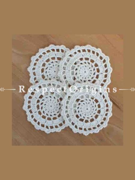 Buy Magnificent Hand Knitted White Crochet Table Runner, Round Mats and Coasters Sets; 15x40 in; Cotton At RespectOrigins.com