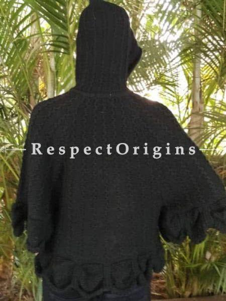 Buy Black Woollen Poncho Sweater. at RespectOrigins.com